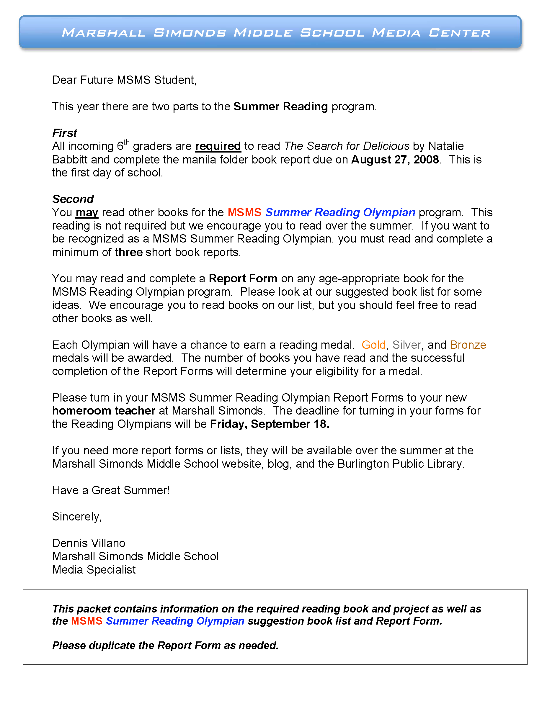 Incoming 6th Grade Summer Reading   Marshall Simonds Middle School