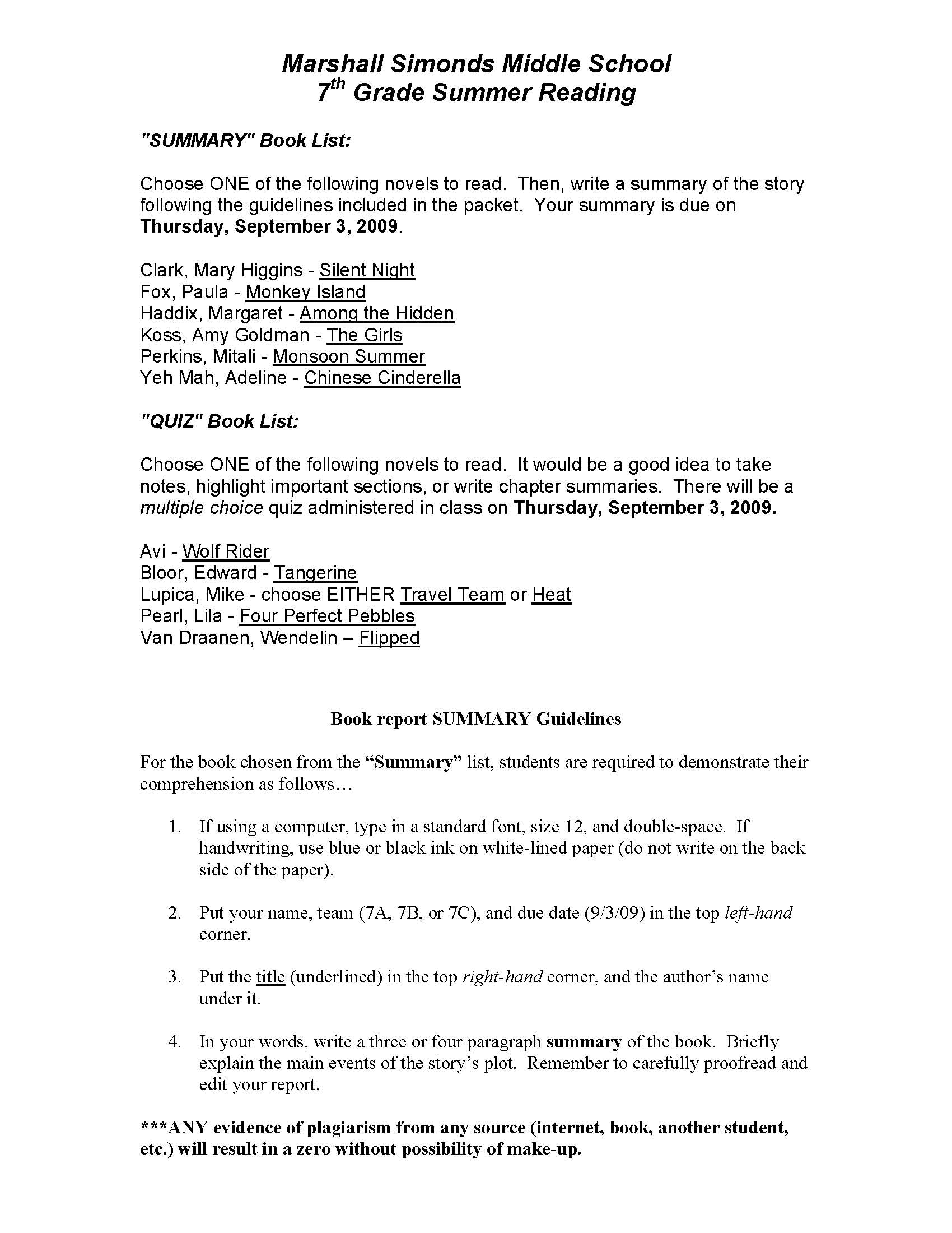 MSMS 7th Grade Summer Reading You Can Also Click On The Pages Below To Bring Them Up In A Separate Window