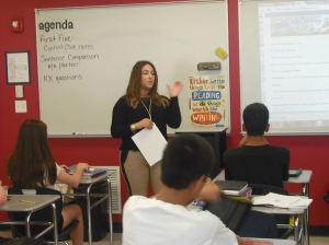 Ms. D'Archangelo goes over vocabulary with one of her ELA classes.