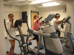 The MSMS gym's new elliptical machines are already going to good use.