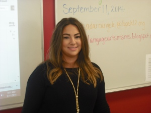 Ms. D'Archangelo, the new English Language Arts teacher for 7B.