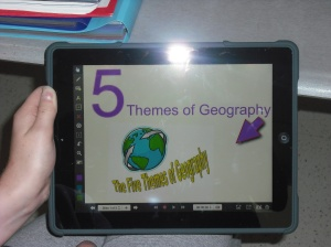 A student creates a Title Page for a Geography project in Explain Everything.