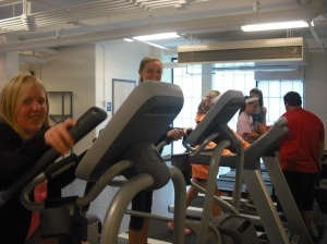 Students of 7B make use of the new treadmills