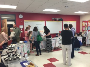 6B Math Teacher, Mrs. Crowley Greets Parents.