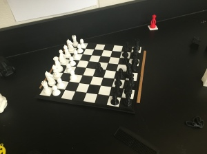 A 3D printed chess set made in Mr. Fatel's Tech Ed class.