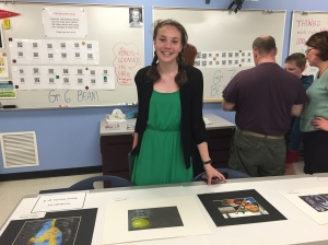 8B Student Alison Martin shows off her work in Mrs. Rogers' room.