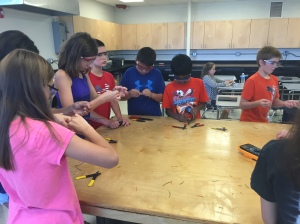Students learn to cable splice in Tech. Ed.