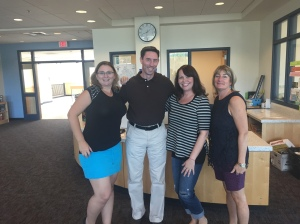 6B Teachers Mrs. Sturtevant, Mr. Conley, Mrs. Crowley and Mrs. Lynch pose for a photo in the Learning Commons.