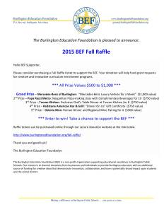 BEF 2015 Fall Raffle (facebook and email postings)