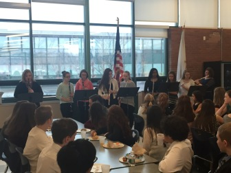 The MSMS Woodwind Ensemble performs at the beginning of the brunch.