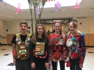 Jordan J, Jenna N, Elizabeth F, and Sydney H were this year's ugly sweater winners!