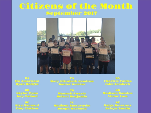 Citizens of the Month Sept 2017